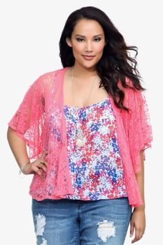 Amazon.com: Torrid Plus Size Coral Flutter Lace Jacket: Clothing