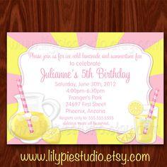 Pink Lemonade Sunshine Summertime Fun Invitation