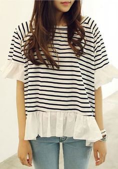 Black Striped Patchwork Chiffon Falbala Cotton Blend T-shirt - T-Shirts - Tops