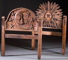 Folk Art carved headboards.