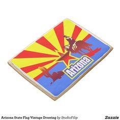 Arizona State Flag Vintage Drawing Jumbo Shortbread Cookie