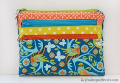 from Pixels to Patchwork: Triple-Zip Pouch and Fresh Sewing Day