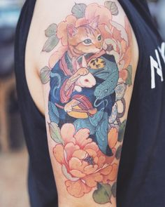 amazing cat tattoo in japan style by Anime Tattoos, Body Art Tattoos, Sleeve Tattoos, Black Cat Tattoos, Cat Tattoo Designs, Japanese Cat, Japanese Tattoo Art, Aesthetic Tattoo, Japan Tattoo