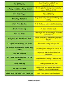 This is a page of commonly used idioms and what they mean.  It can be used as a poster or as a matching game.Examples:Out Of The Blue- Somethin...