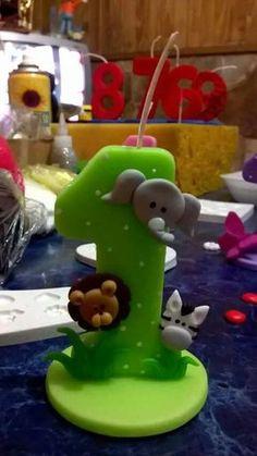 Velas personalizadas para cumpleaños infantil. Porcelana fria. Animales de la selva