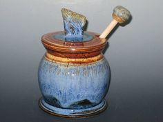 Best Blue Honey Pot with Dipper Pre Black by earthtoartceramics, $46.00