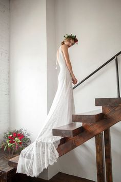 Lace Train Wedding Dress, Vintage Inspired Wedding Dress, Open Back Wedding Dress, Bohemain Wedding Dress - Bordeaux Dress Rustic Wedding Gowns, Classic Wedding Gowns, Vintage Inspired Wedding Dresses, Disney Wedding Dresses, Celebrity Wedding Dresses, Wedding Dress Train, Country Wedding Dresses, Colored Wedding Dresses, Modest Wedding Dresses