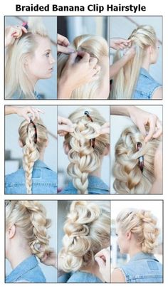 AAAnd the banana clip is back. I missed them. Braided Banana Clip Hairstyle: 13 great step-by-step summer hair tutorials Banana Clip Hairstyles, Pretty Hairstyles, Easy Hairstyles, Wedding Hairstyles, Hairstyles Videos, Wedding Updo, Diy Wedding, Summer Hair Tutorials, Hairstyle Tutorials