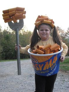 Homemade Easy Mac costume made from scratch macaroni cheese costume