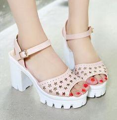 Дешевое Вырез открытым носком толстый каблук платформа размер подгоняют женская обувь босоножки на каблуке, Купить Качество Сандалии для женщин непосредственно из китайских фирмах-поставщиках: Обувь ширина стопы: Размер 5 ссылки, Это 8-9 см как нормальный, Увеличить 0.5 см для в расчете на один размер больш