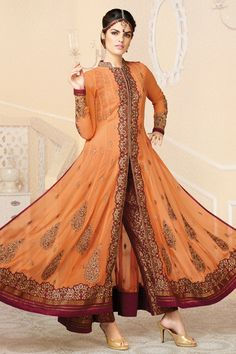 Orange and Dark Red Faux Georgette Anarkali Suit Online Shopping-Z3036PPRJ1449-81