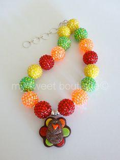Thanksgiving Turkey Chunky Bubblegum Necklace on Etsy, $20.00, rhinestone beads