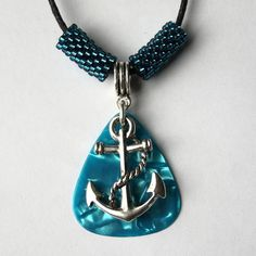 Blue Anchor Guitar Pick Necklace  £3.50