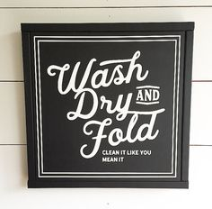 WASH DRY and FOLD Painted Wood Sign | Wall decor - Available in M and L sizes (Rustic Chic, Modern Farmhouse, fixer upper) Free Shipping