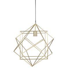 Goudkleurige, metalen hanglamp D 50 cm WIRE SQUARE