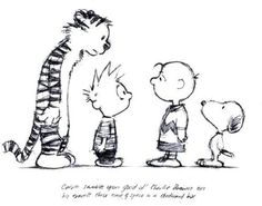 Calvin and Hobbes meet Charlie Brown and Snoopy