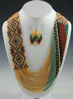 DIY and Crafts on Share Sunday - Navajo Beaded Necklace, Navajo Necklace, Rena Charles, Sedona Indian Jewelry, Sedona Native America - Red Jewelry, Seed Bead Jewelry, Indian Jewelry, Jewelry Crafts, Beaded Jewelry, Indian Earrings, Beaded Necklaces, Gold Jewellery, Navajo Jewelry