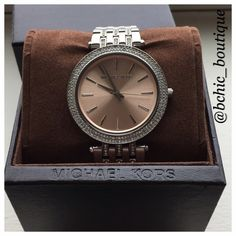 ⚡️DEAL OF THE DAY⚡️Michael Kors Watch Preloved MK watch with crystals. The watch is in great condition. Worn a few times only. Has minor scratches from normal wear. Comes with box, extender pieces. The battery is working Michael Kors Accessories Watches