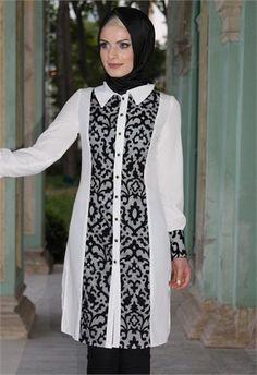 Ayşe Melek Dantel Detay Tunik Beyaz 7780 - Women's style: Patterns of sustainability Abaya Fashion, Muslim Fashion, Fashion Wear, Modest Fashion, Stylish Hijab, Hijab Style, Blouse Models, Batik Dress, Mode Hijab