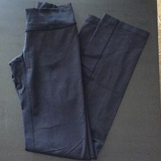 Lululemon Leggings Black, long Lululemon leggings. Double waist band, can roll over or wear as high waist band. Straight leg, not flared or tight, worn handful of times lululemon athletica Pants Track Pants & Joggers