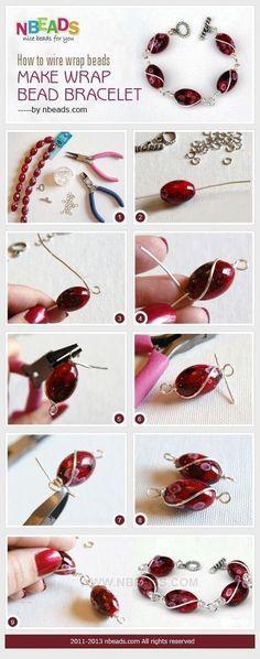 Tutorial DIY Wire Jewelry Image Description how to wire wrap beads - make wrap bead bracelet #diyjewelry #braceletstutorials #wirejewelry