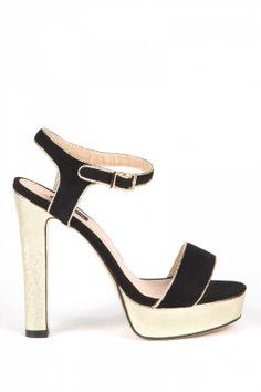 Sandale NISSA EXSA389 Auriu/Negru Mall, Heels, Fashion, Sandals, Heel, Moda, Fashion Styles, High Heel, Fashion Illustrations