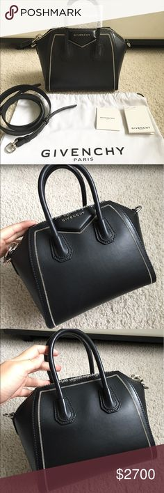 """LIKE NEW Givenchy Antigona Mini Chain Detail Like brand new & authentic Givenchy Antigona Mini black w/ chain detail. Includes: (1) bag, (1) strap, (1) tag + care card, (1) dust bag, & original bag stuffing + handle protectants. Smoke/pet free. Structured buffed calfskin. Curb chain detailing. Detachable & adjustable strap. Zippered & patch pockets interior. Silver-tone hardware. Approx. 8.5"""" length x 8.5"""" height x 5"""" width. Made in Italy. Kindly keep in mind Poshmark commission. Ready to…"""