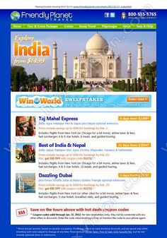 Company:    Friendly Planet Travel   Subject:    Explore India from gbp1499             INBOXVISION is a global database and email gallery of 1.5 million B2C and B2B promotional emails and newsletter templates, providing email design ideas and email marketing intelligence www.inboxvision.com/blog  #EmailMarketing #DigitalMarketing #EmailDesign #EmailTemplate #InboxVision  #SocialMedia #EmailNewsletters