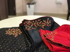 Whatsapp on 9496803123 for customisation New Saree Blouse Designs, Blouse Back Neck Designs, Saree Blouse Patterns, Kurti Embroidery Design, Embroidery Saree, Churidar Designs, Baroque Pattern, Elegant Saree, Indian Designer Outfits