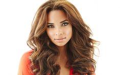 Download wallpapers Rochelle Aytes, American actress, photoshoot, portrait, orange dress