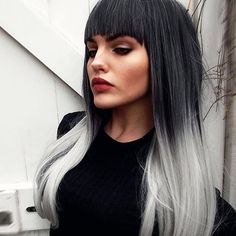 New style 2015 - black grey silver ombre dipdye gothic lolita cosplay lush wig - worldwide tracked delivery Black To Grey Ombre Hair, Grey Hair Dye, Ombre Hair Color, Dyed Hair, Silver Ombre, White Hair, Lolita Cosplay, Lush Wigs, Look 2018