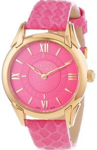 """Versace Women's VFF070013 """"Dafne"""" Rose Gold Ion-Plated Stainless Steel Dress Watch with Leather Band"""