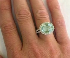 Oval Green Amethyst Diamond Ring in 14k