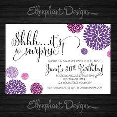 Surprise Birthday Invitation Purple Magenta Handwritten Font 30th 40th 50th 60th Adult Custom Invite Digital File You Print