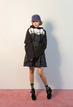 Tartan Decorative Button Pinafore Dress | STYLENANDA