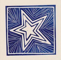 Dark Blue Star card by LizHarrapHortonCards on Etsy Printable Christmas Cards, Diy Christmas Cards, Xmas Cards, Christmas Art, Christmas Card Printing, Primitive Christmas, Country Christmas, Lino Art, Stamp Carving