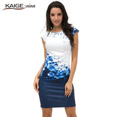 bca7f44662310 2017 Kaige Nina dress Women bodycon dress plus size women clothing chic elegant  sexy fashion o neck print dresses 9026-in Dresses from Women s Clothing ...