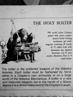 For you who want to know more about the bolter! : Warhammer40k