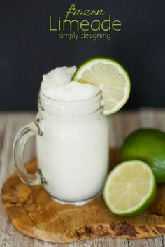 Frozen Limeade Recipe - this drink is incredibly delicious and the right amount of tart and tangy - the perfect summer frozen drink by Simply Designing