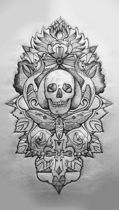 black and white skull tattoo with flowers and intricate detail