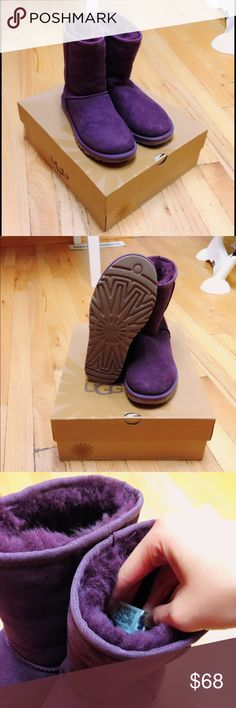 EUC UGG boots in the original box Beautiful purple UGG boots in excellent condition. They have been worn a couple times but The inside of the boots is still fluffy! Come in the original box as well. Please do not ask me how much I will take. Instead you are more than welcome to make an offer so we can negotiate the price 😊 And please feel free to ask me any questions! UGG Shoes Winter & Rain Boots