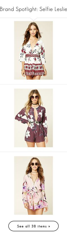 """""""Brand Spotlight: Selfie Leslie"""" by forever21 ❤ liked on Polyvore featuring jumpsuits, rompers, tie belt, floral romper, white floral romper, forever 21, surplice romper, purple, purple halter top and floral rompers"""