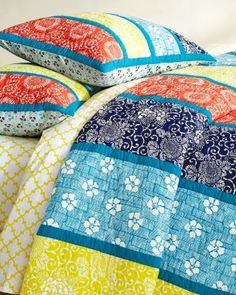 Kimono Print Quilt and Sham. I love Bedding with Lots of Color.  :)