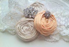#Wedding Garter #Bridal #Garter SET in Vintage #Peach