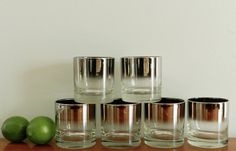 Vintage Cocktail Glasses Silver Fade Queens by ModRendition