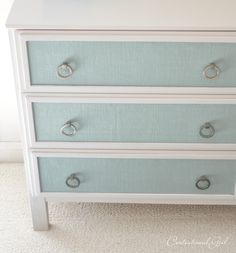 IKEA Dresser Restyle-Love Idea of using burlap/textured fabric for fronts!! IKEA TARVA Textured Panel Dresser Makeover
