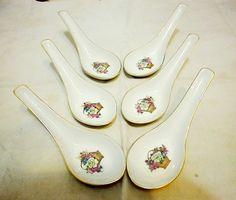 Set of six vintage porcelain soup spoons by UnnaVintage on Etsy, $15.00