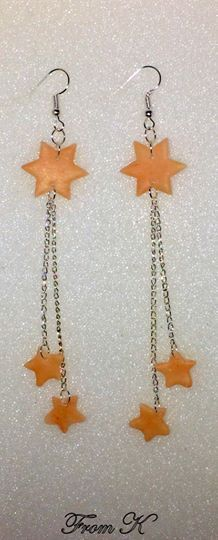 "#Stars long #dangle #earrings. They are perfect to fit any outfit, for an evening party but also a great everyday pair. Hand shaped from polymer clay. Because each piece is handmade, every piece is completely unique and carries its own ""flaws"" making it one-of-a-kind. Finished with steel hardware. Unique semi translucent sepia color. Total length is about 11 cm. (if on order length can be modified) 12.00 Ron"