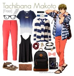 """Tachibana Makoto [Free!]"" by ibuperisesat ❤ liked on Polyvore featuring Velvet by Graham & Spencer, Etro, Tommy Hilfiger, River Island, Tory Burch, Ray-Ban, Domo Beads, Bobbi Brown Cosmetics, Mona Mara and H&M"