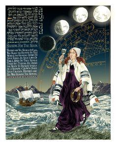 Birkat Ha-Levana: A Blessing For The New Moon by Ilene Winn-Lederer, from her book An Illumination of Blessings Arte Judaica, Hebrew Prayers, Jewish Calendar, Moon Symbols, Religion, Jewish Art, Jewish Music, Judaism, Sacred Art